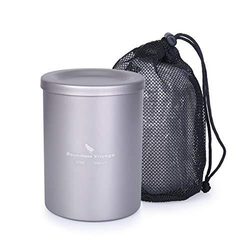 iBasingo Titanium Teetasse mit Filterdeckel für losen Tee Kaffee im Freien Doppelschicht-Teebecher für Camping Picknick Wandern Reisen Büro 350 ml / 180 ml