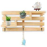 margueras 1pcs estante de pared (madera perchero estante de pared con 3  ganchos 2a1635c9c0a0