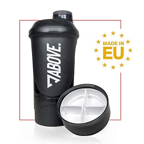 ABOVE. Protein Shaker 600 ml mit Pulverfach und Pillendose | BPA Frei | Auslaufsicher | Spülmaschinenfest | Fitness Shaker für Eiweiß Pulver | Schwarz