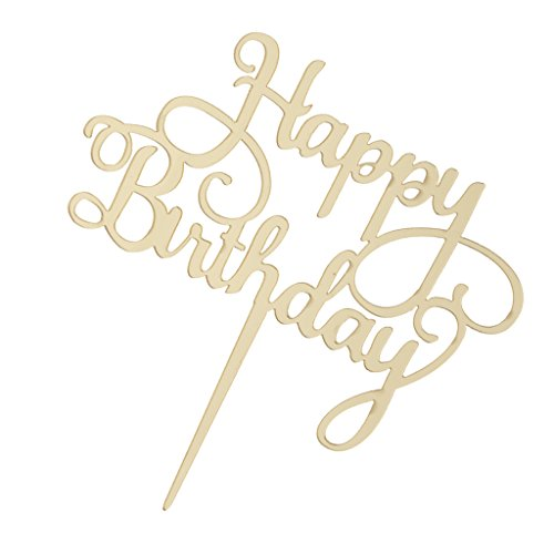 (Fenteer Happy Birthday Cake Topper, Gold und Schwarz Farben - Gold)
