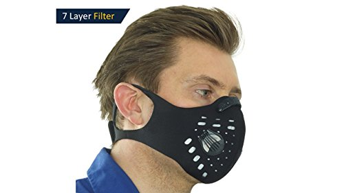 2.0v, Anti-Pollution Face Mask, N99 Filter, 2-Way vents, Activated Carbon Filtration, Exhaust Fumes, Anti Pollen & Allergy, Urban Pollution, Cycling, running, hiking, gardening, DIY, fitness training