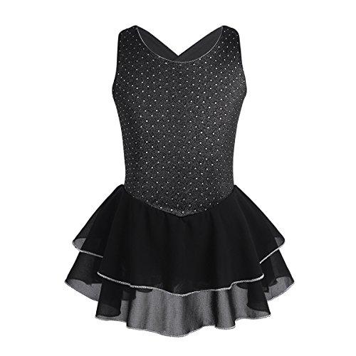 CHICTRY Vestido de Patinaje Sobre Hielo Ropa de Patinaje Artistico Vestido de Danza Ballet Tutú Leotardo con Bragas para Niña Chica Actuación Negro 10Años