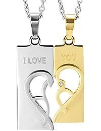 """2pcs His & Hers abstracto """"I Love You Corazón Parejas joyas cz Juego de Collar con Colgante con 48,3cm & 53,4cm cadenas"""