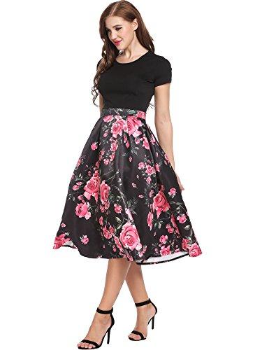 ACEVOG Damen Rockabilly Kleid Blumen 50s Vintage Faltenrock Kurzarm Patchwork Schwingen Partykleider Abendkleider Schwarz