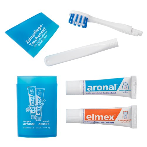 Elmex Zahnpflege-Set mit Reise-Zahnbürste und Zahnpasta Farbe blau 1 Stk