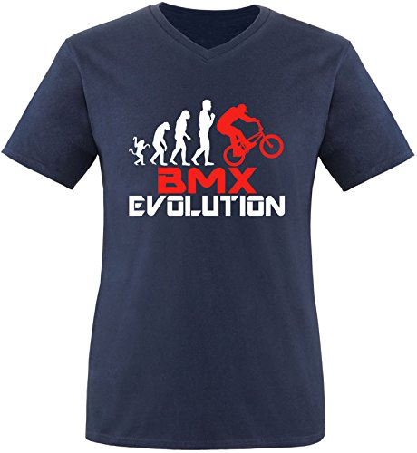 EZYshirt® BMX Evolution Herren V-Neck T-Shirt Navy/Weiss/Rot