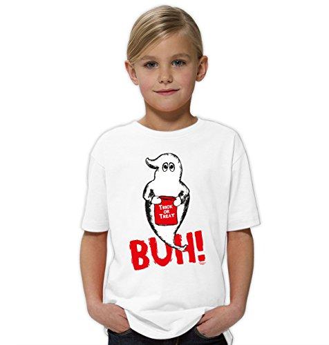 Halloween-Kostüm-Kinder-Jugend-Fun-T-Shirt Gruselig witziges Shirt für Kids Mädchen Girlie Geist Buh! Geister Gespenster Kürbis Outfit Geschenk Idee Farbe: Weiss Gr: 110/116