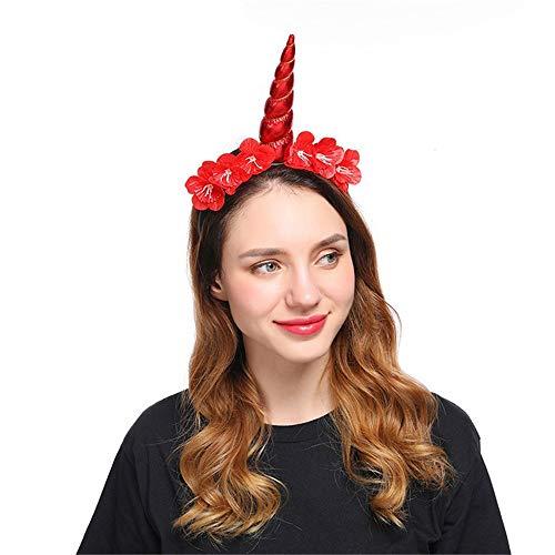 TTYHG Einhorn Haarband Make-up Blumen Stirnband Weihnachten Halloween Party Zubehör Haarschmuck, rot