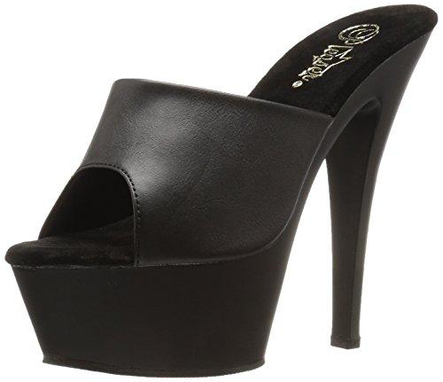 6 Zoll High Heels Fetisch (Pleaser Kiss-201, Sexy Plateau High Heels Sandaletten, Lederimitat-Schwarz , 35-44)
