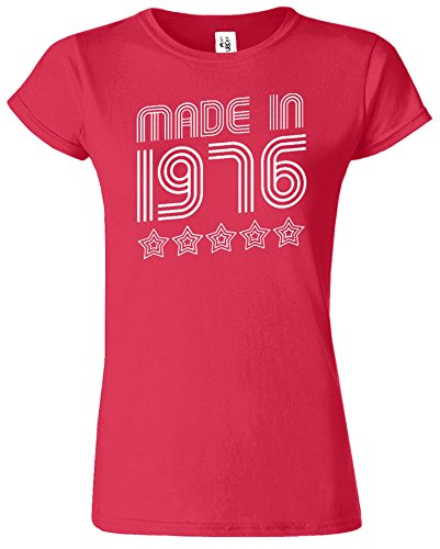 Made In 1976 5 Stars Birthday Retro-Damen-T-Shirt Antik Kirschrot / Weiß Design