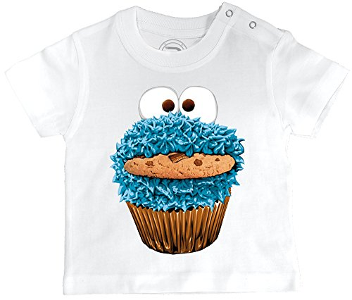 PIXEL EVOLUTION 3D Animierte T-Shirt Baby Cookie Monster in Augmented Reality Größe 24 Mois - Weiß
