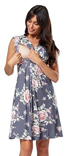 Zeta Ville - Damen Still Kleid Diskretes Stillen Skaterkleid Schwangere - 808c (Grau und Blume, EU 42, XL)