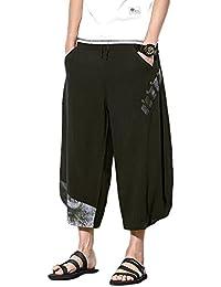 72fa635b02cf Yonglan Uomo Pantaloni Larghi Hip Hop Pantaloni Harem Danza Pantaloni Baggy  Casual Pinocchietti Nero L