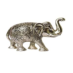 Buy Brand Basket Craft Item Silver Metal Elephant Showpiece For Home Decor Lucky Figure Eye Catching Statue Measurement L W H 30 12 27 5 Cm Weight 2kg Online At Low Prices
