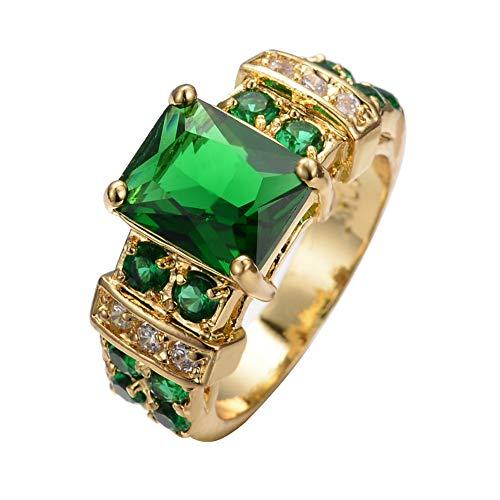 Frauen Diamant Gold Lila 4 Claw Long Square Zirkon Ring,Grün,Nein.6 -