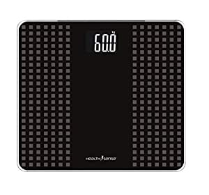 Health Sense PS 117 Glass Top Digital Personal Body Weighing Scale (Black/Gray)