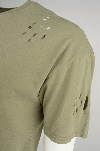 Brave Soul 'Benji' Herren Longline Mehr-Tasche Vintage Rundhalsausschnitt T-Shirt Staubiges Grün