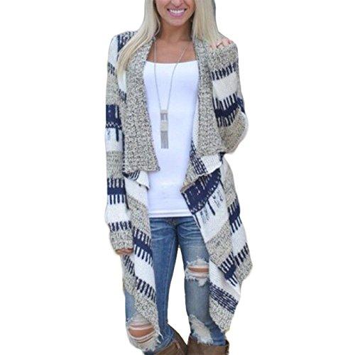 Fanmay Stylische Damen Pullover Asymmetrisch Lange Ärmel Strick Jacke Frauen Strickjacke Gestreift Druck Sweater Oberteile (M, Marineblau) (Kurzarm-achselzucken)