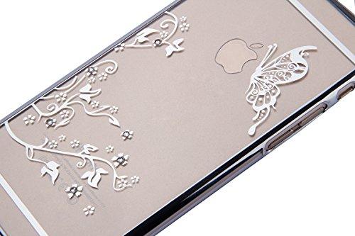iPhone 6S / 6 Hülle (4,7 Zoll),iPhone 6S Hülle,iPhone 6 Hülle,Tasche für iPhone 6 / 6S,ikasus® Schutzhülle für iPhone 6 / 6S Silikon Hülle [Kristallklar Durchsichtig],Malerei Muster Stoßdämpfend Trans Blumen Schmetterling:Silber