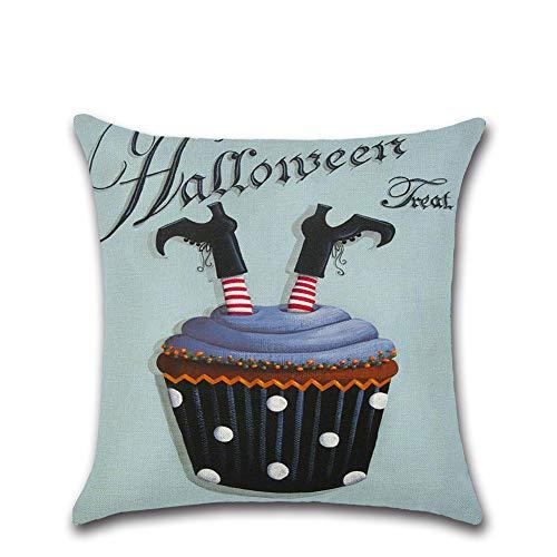 Halloween Deko Grusel Dekoration Set 45 * 45cm Halloween Kuchen Serie Kissenbezug 603 Modelle 1 Packung für Halloweendeko Make-up-Party Halloween Dekoration