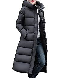 Queenshiny thickLong to knee Women's Down Coat hooded Goose down filling winter uk size from 8--18 black