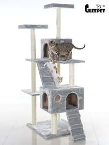 gleepet gro er kratzbaum 179 cm hoch in farbe grau mit riesigem katzenhaus und katzentreppe. Black Bedroom Furniture Sets. Home Design Ideas