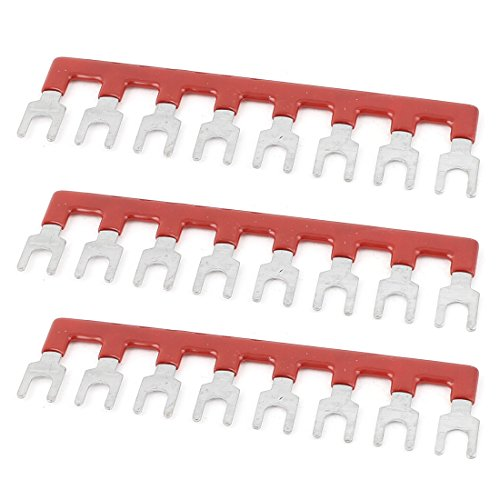 Sourcingmap a15060100ux02193PCS 8Positionen Pre Insulated Terminal Barrier Block Strip Rot 600V 25A-Silber Tone, rot (1) Lug-type Terminal Strip