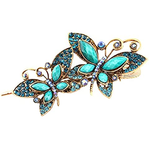Fascigirl Cabello Broches Retro Doble Mariposa en Forma de Pinza Peine de Pelo Para las Mujeres