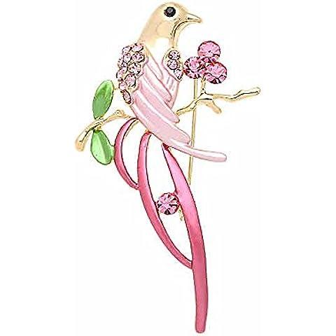 Gioielli Elementi uccelli Spille placcato oro rosa cristallo Swarovski spilla smalto Pin Magpie per le donne