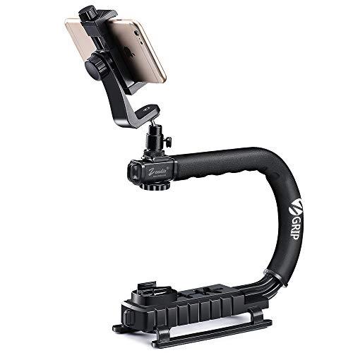 Zeadio Stabilizzatore portatile + Adattatore girevole 360 gradi + Supporto universale di smartphone, per iPhone Sumsung Sony LG Huawei Motorola Cellulare