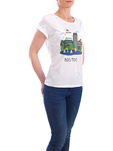 """Design T-Shirt Frauen Earth Positive """"Boston City Art"""" - stylisches Shirt Städte / Boston von Pina Lee Weiß"""