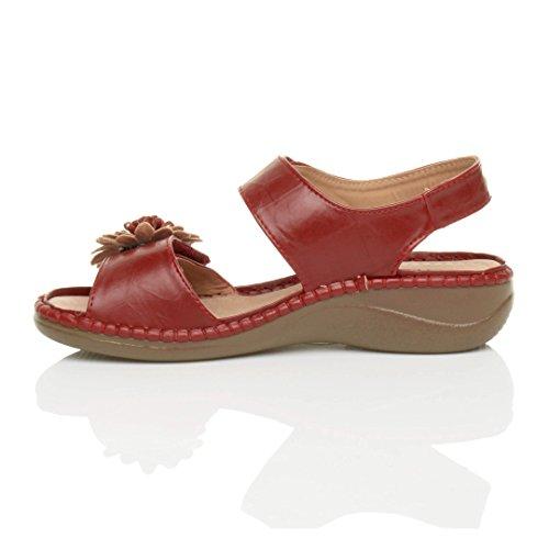 Femmes strappy une fleur confortables décontractées sandales pointure Rouge
