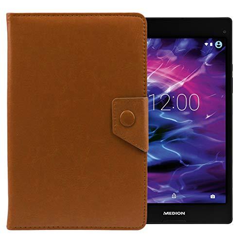 UC-Express Medion Lifetab P8514 Tablet Hülle Tasche Schutzhülle Case Cover Leder-Optik, Farben:Braun