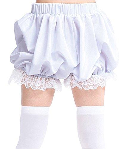 antaina Weiße Spitze Viktorianischen Rüschen Baumwolle Lolita Kürbis Hosen Bloomers Shorts,XL (Spitze Bloomers)