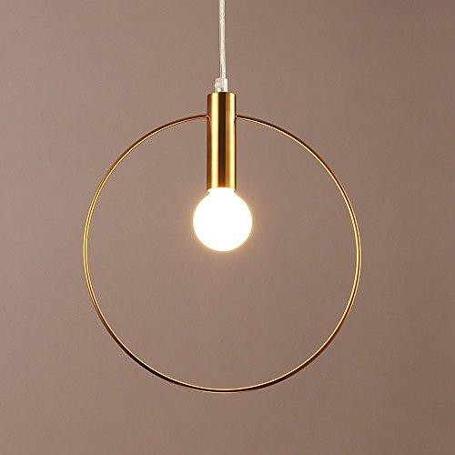 ZZW Hierro Redondo, Lámparas LED posmoderna de Oro Bar Mesa de Comedor Iluminación luz de Techo Moderna Estudio Sala de Estar Minimalista Tienda de Ropa pequeñas lámparas Colgante (Size : 28CM)
