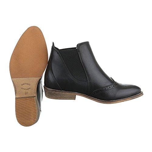Ital-design Chelsea Boots In Pelle Scarpe Da Donna Chelsea Boots Block Tacco Stretch Stivaletti Nero
