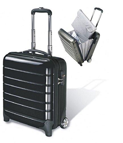 Business Trolley, Laptopkoffer, Laptopkoffer mit Rollen, hochwertiges Polycarbonat carbon schwarz, erhältlich auch in silber von FIHA-Promotion