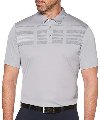 PGA TOUR Herren Broken Stripe Oxford Short Sleeve Polo Golf-T-Shirt, Sleet, Klein