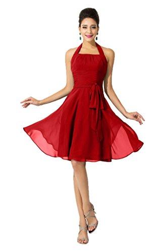 Sunvary Einfach Neckholder Band Abendkleid Knielang Chiffon Cocktailkleider Partykleider Rot