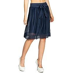Caspar RO024 Falda Midi Muy Fina para Mujer/Falda Corta de Verano Hecho de Seda, Color:Azul Oscuro;Tamaño:S/M