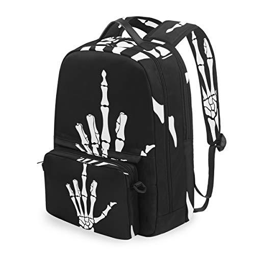 Lustiger Rucksack mit Skelett-Mittelfinger, schwarz, abnehmbare Schultertasche, Schultasche, Umhängetasche, für Kinder, Jungen und Mädchen