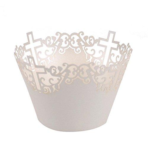 ULTNICE Cupcakes Wrapper Papier Kuchen Verpackungen Kreuz Muffin Deko für Hochzeit Party Supplies 50pcs (weiß)