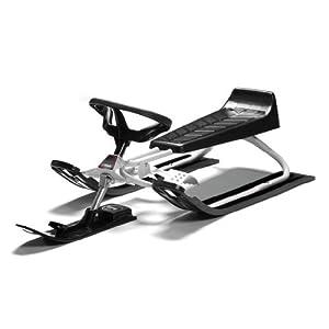Stiga Sports Unisex Jugend Snow Racer Power White Schlitten mit Lenkrad und Bremse, WEIß