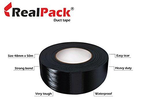 realpack® 2Rollen–schwarz Gaffer/DUCT TAPE Größe: 48mm x 50m wasserdicht. Stark Tuch Buchbindung Tape Kostenloser Schnell Versand