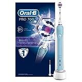 Oral-B Pro 700 Elektrische Zahnbürste, mit Timer und 3DWhite Aufsteckbürste, weiß/blau