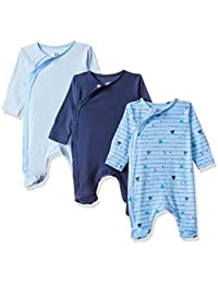 MINI KLUB Baby Boys' Regular Fit Sleepsuit (Pack of 3)(92IEBSL1114_Multi_NB)