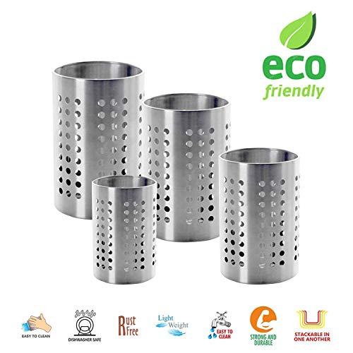 WhopperIndia Küchenutensilienhalter - Utensil Crock - Caddy Utensilien Aufbewahrung Edelstahl (4er Pack) 5
