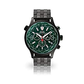 DETOMASO AURINO Racing Reloj Caballero Cronógrafo Analógico Cuarzo Negro Brazalete de Acero Inoxidable Esfera Verde DT1061-N-867