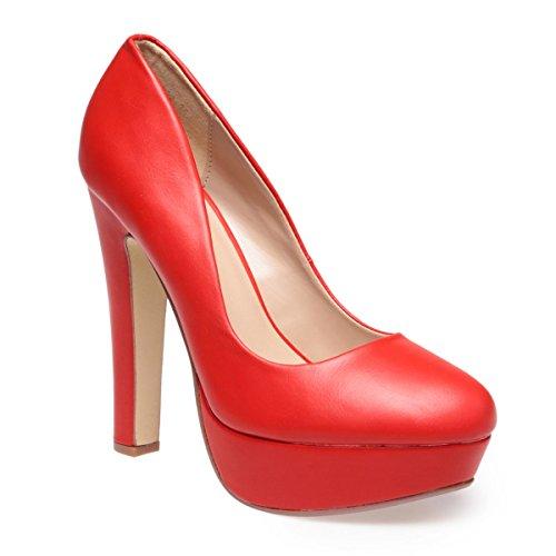 La Modeuse - Escarpins femme aspect simili cuir Rouge
