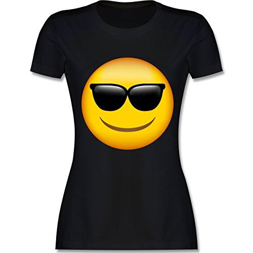 Comic Shirts - Emoji Sonnenbrille - L - Schwarz - L191 - Damen Tshirt und Frauen T-Shirt